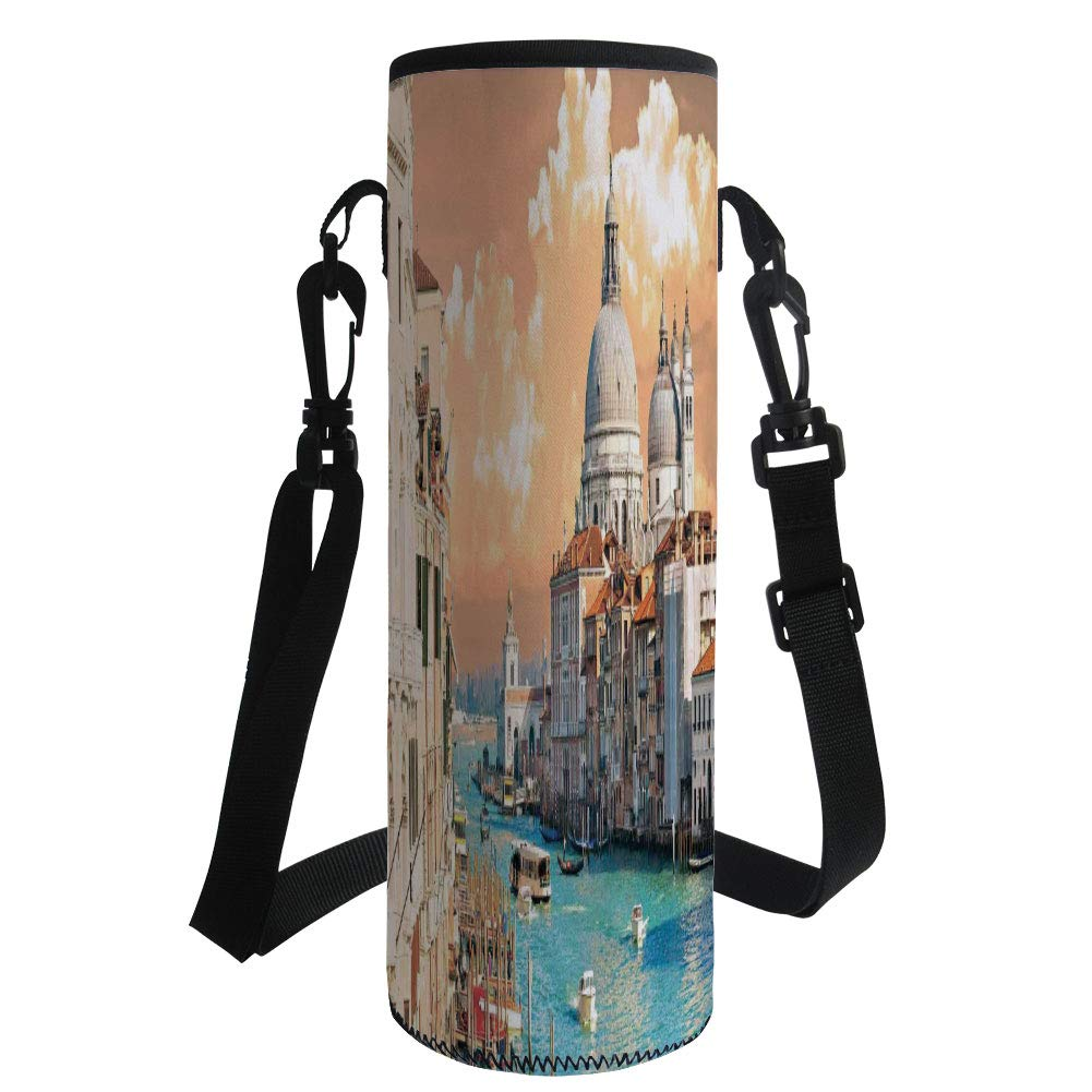 Water Bottle Sleeve Neoprene Bottle Cover,Cityscape,Grand Canal in Venice Italy Historical European Cityscape Town Tower Boho Print,Multi,Fit for Most of Water Bottles