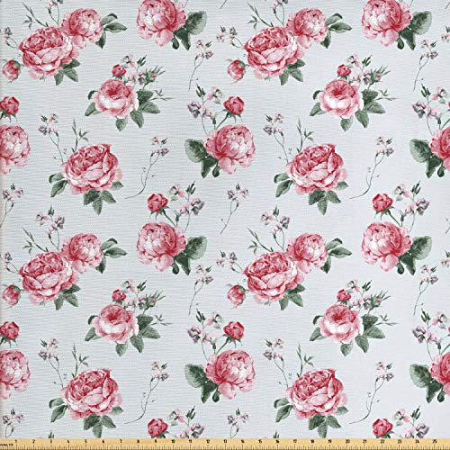 Ambesonne Rose Fabric by The Yard, Blooming English Rose Watercolor Painting Style Garden Shabby Chic Wild Flowers, Decorative Fabric for Upholstery and Home Accents, 1 Yard, Reseda Green Pink