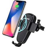 Qi Fast Wireless Car Charger Gravity Car Mount Air Vent Mobile Phone Holder, Fast Charge for Samsung Galaxy S8 /S7 /S6 /S7 Edge, Note 8/5, Standard Charge for iPhone Xs MAX