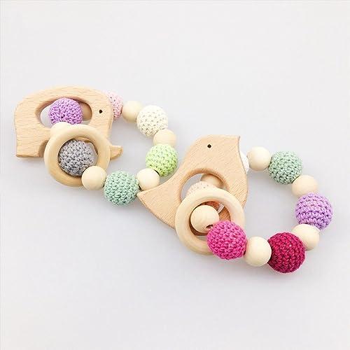 2PCS Baby Nursing Bracelet Can Chew Crochet Beads Non Toxic Car Seat Toy Bird