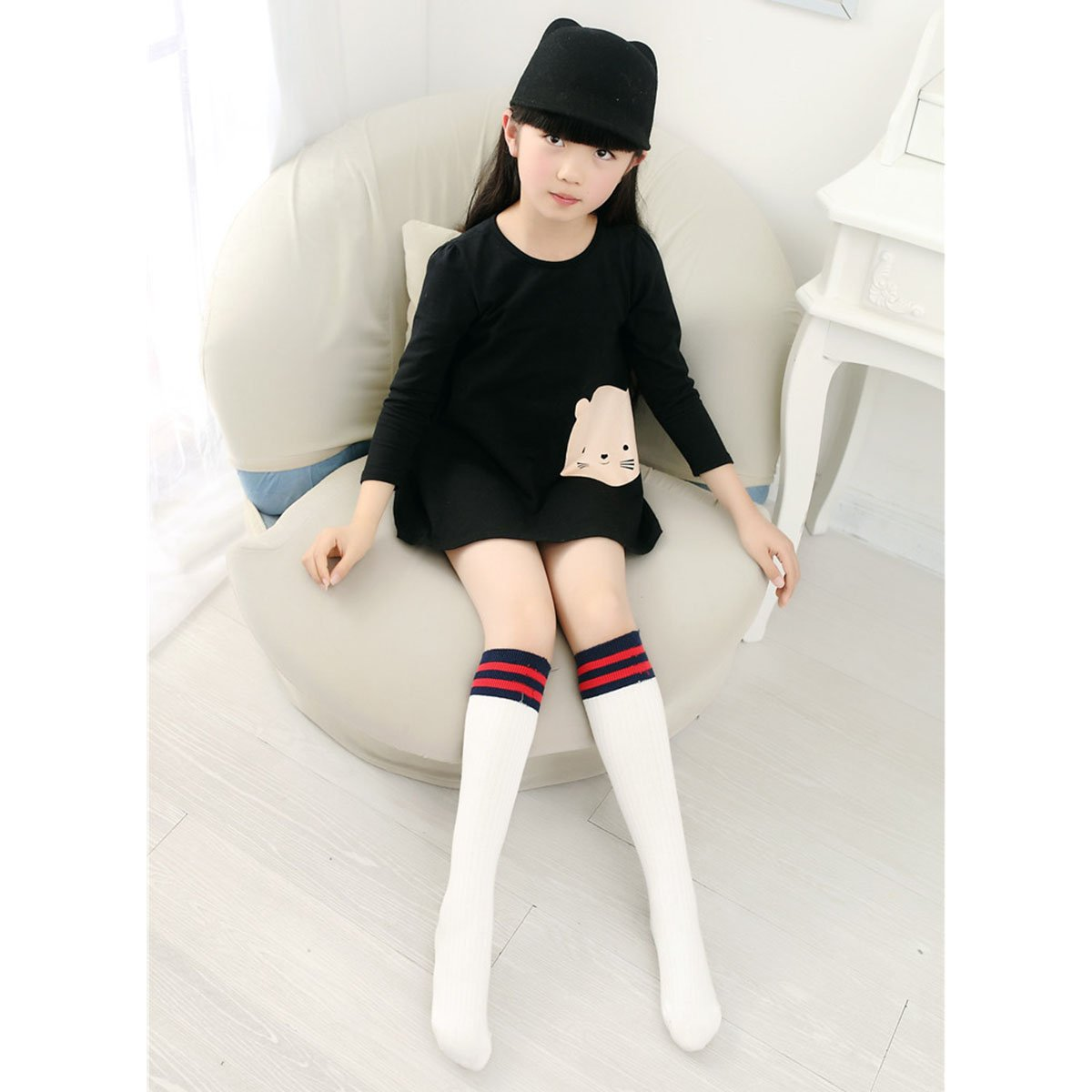 Happy Cherry Women Girls Striped Cotton Knee High Tube Socks Stockings
