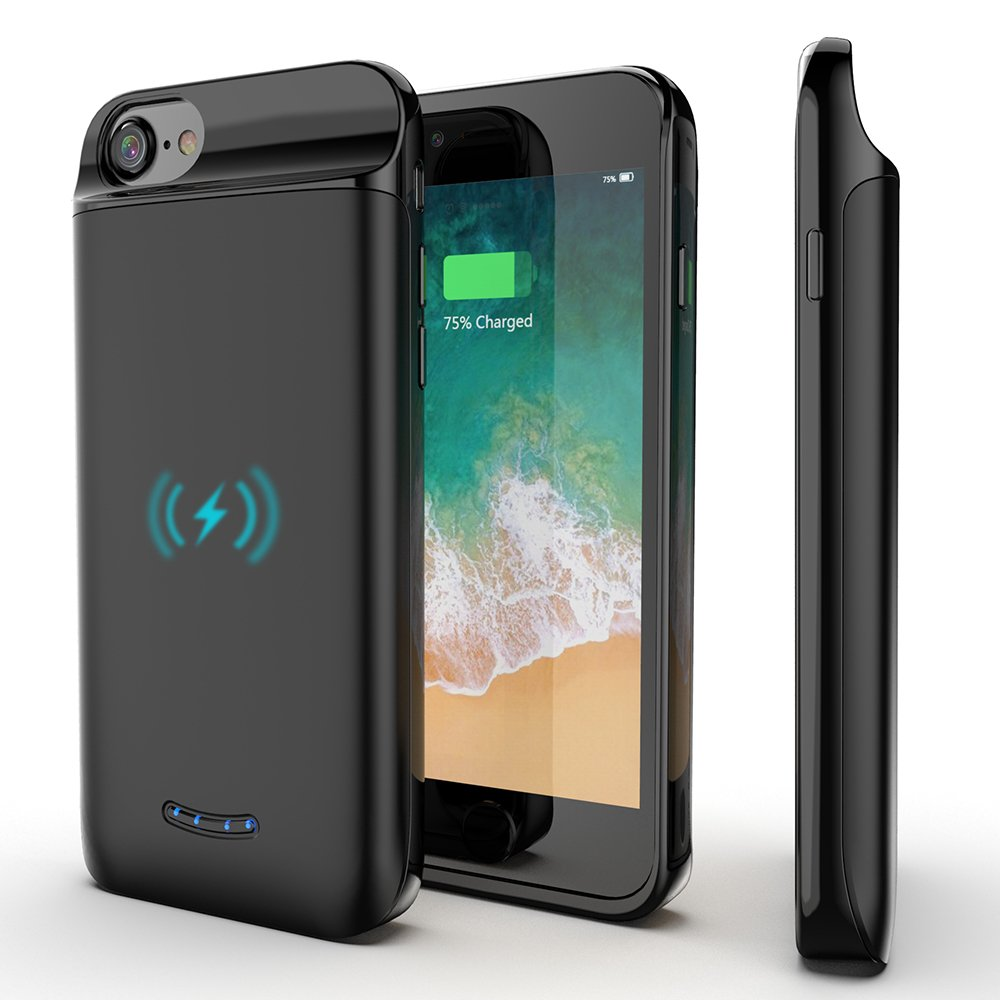 iPhone7 Wireless Rechargeable Battery Case - 5000mAh Extended Portable Lighting Port Wireless Charging Case for iPhone 6/6s/7/8 Taimount