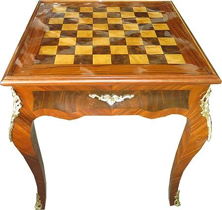 Casa Padrino Art Deco Mesa de Juego Mesa de ajedrez/chaquete Caoba Claro 65 x W 65 x H 71 cm - Barroco Muebles Antiguos: Amazon.es: Hogar