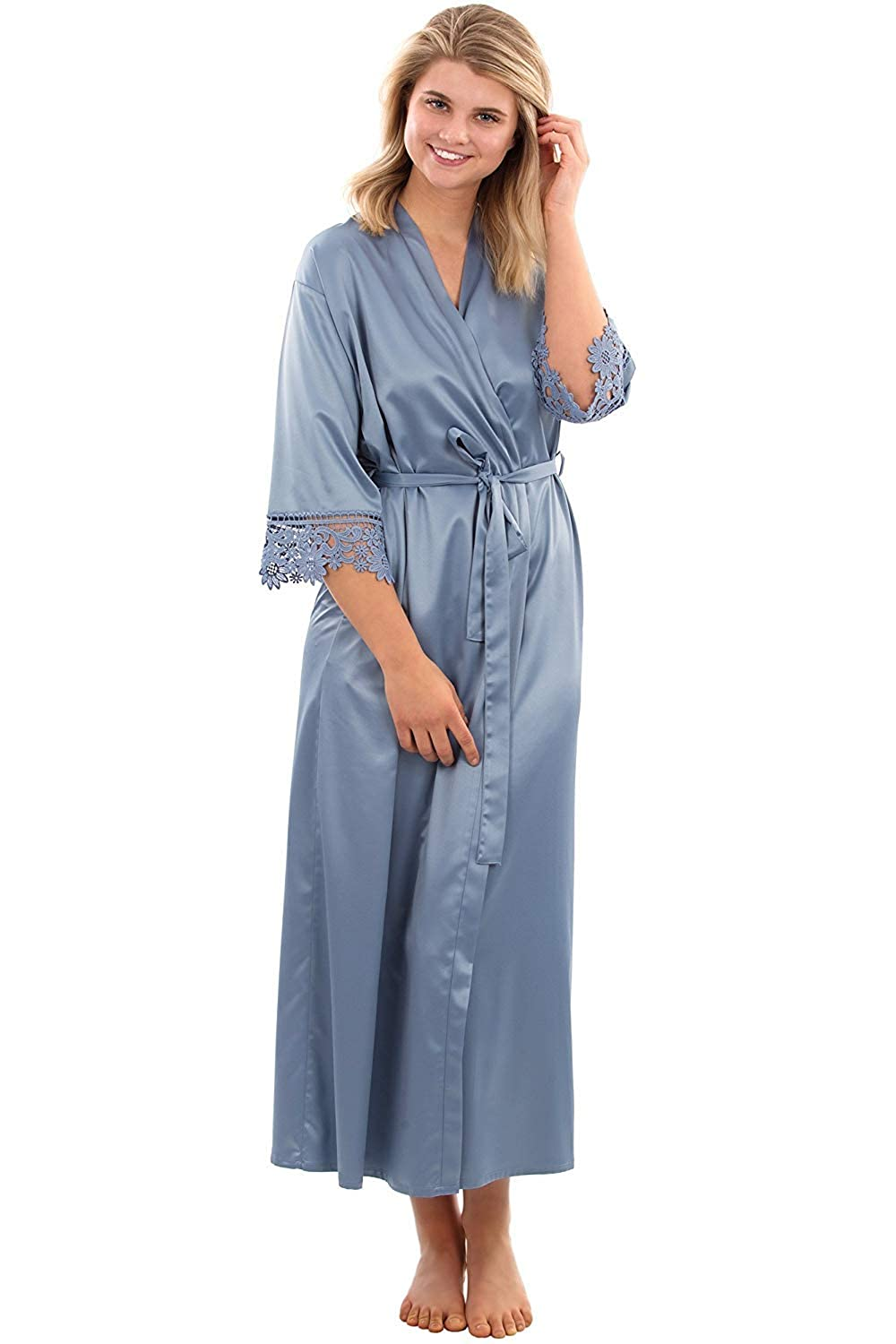 bluee Michealboy Long Bathrobe for Wedding Bride Dressing Gowns Lace Cuff Soft Satin