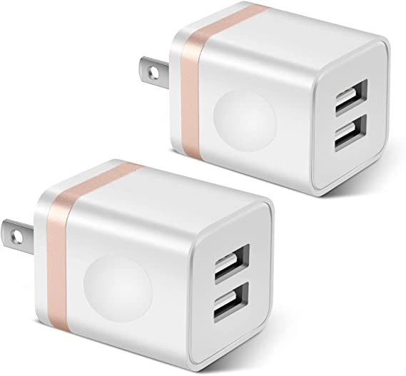 STELECH USB Wall Charger, 2-Pack 2.1A/5V Dual Port USB Plug Power Adapter Charger Block Cube Compatible with Phone Xs Max/Xs/XR/X/8/7/6 Plus/SE/5S/4S, ...