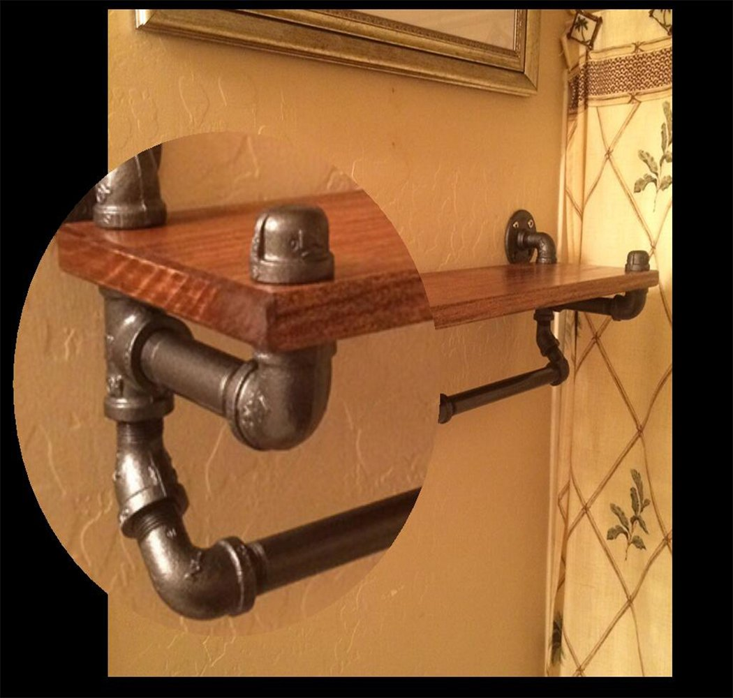 Kaler Retro Industrial Pipe Hanging Shelf Brackets,Rustic Modern 1-Tier Wood Plank Towel Racks Towel Bar