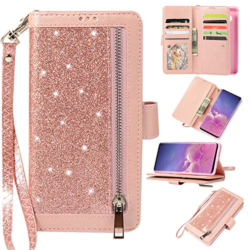 Petocase Compatible Galaxy S10 Wallet Case,Luxury Bling Classy Leather Folio Flip Wristlet Shockproof Protective ID Credit Card Slots Holder Carrying Cover for Samsung Galaxy S10-Rose Gold