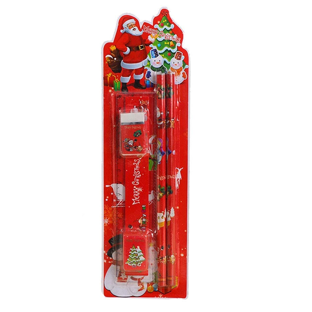Christmas Stationery,FTXJ Christmas Event Gift Stationery Set Cartoon Creative 6 Piece Set Of School Supplies Primary School Prizes (Red A, 1Set)
