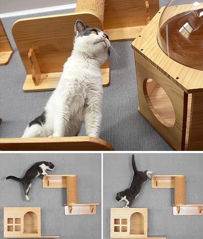 DJLOOKK Árbol rascador para Gatos Gato Escalada Marco Sólido Colgante de Pared de Madera Espacio Gato Gato Plataforma de Salto Gato Litter Pared Columna de ...