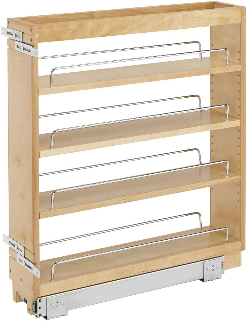 Rev A Shelf 448-BC-5C 5 Inch Pull Out Wood Base Kitchen Cabinet Organizer,  Maple