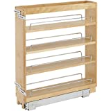 Rev-A-Shelf 448-BC-5C 5-Inch Pull Out Wood Base Kitchen Cabinet Organizer with 3 Adjustable Shelves, Maple