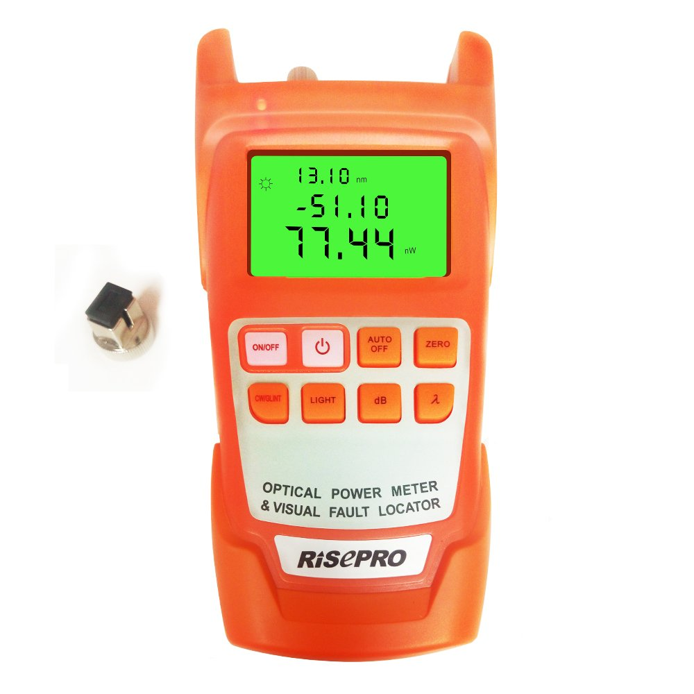 2-in-1 Optical Power Meter, RISEPRO Fibre Optic Cable Tester -70 to +10dbm 10mw 12KM Cable Tester Visual Fault Locator With large LCD Backlight AUA11-O
