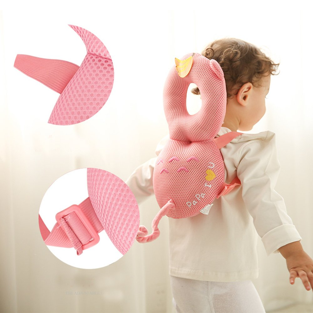 Pink Monkey - Cotton Amooy Dizi Baby Head Toddler Pillow Protector Head and Back Safety Pad with Flexible Strap Backpack for 8-24 Months Babies Walking Crawling