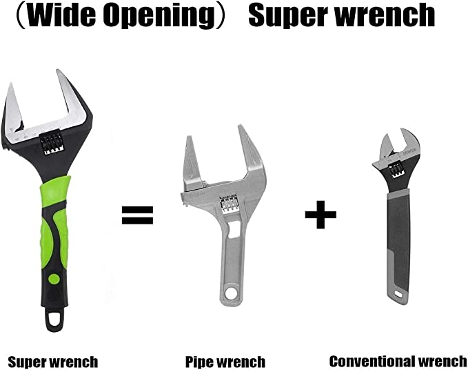 Size : 6 Inch Herramienta tubo tuerca grande extra ancho de mand/íbula ajustable llave inglesa Capacidad 6~60 mm de 12 pulgadas