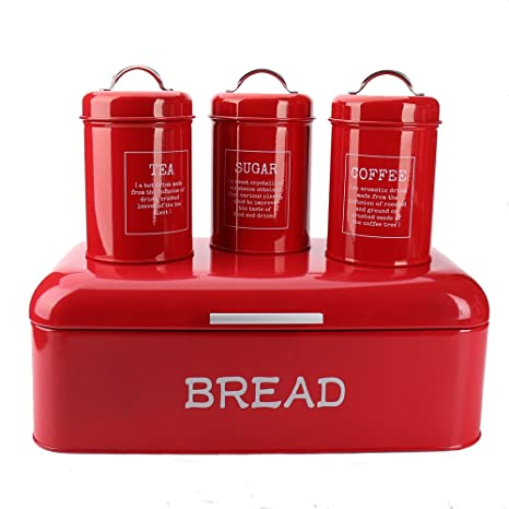 Hot Sale X384l Set Of 4 Square Large Metal Vintage Home Kitchen Gifts Storage Tin Canister Bread Box Bin Container Holder Sets Red