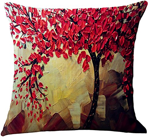 (ChezMax Flat Printed 3D Oil Painting Effect Home Decorative Cotton Linen Throw Pillow Cover Cushion Case Square Pillowslip for Couch Red Maple Leaves 18 X 18'')