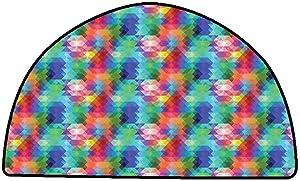 Non-Slip Bath Hotel Mats Geometric,Abstract Gradient Hipster Modern Digital Triangles Futuristic Artsy Illustration,Multicolor,W47 x L31 Half Round Rugs for Sale