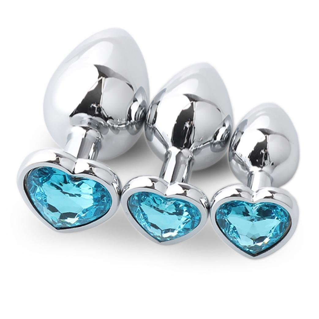 Yoyorule 3 Pcs Heart Shaped Butt-Anal-Play Sex Base with Jewelry Birth Stone G-spot Rose Jewel (Sky Blue)