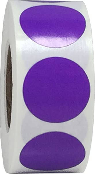 """3//4/"""" Purple Round Color Code Inventory Label Dot Stickers MADE IN USA"""