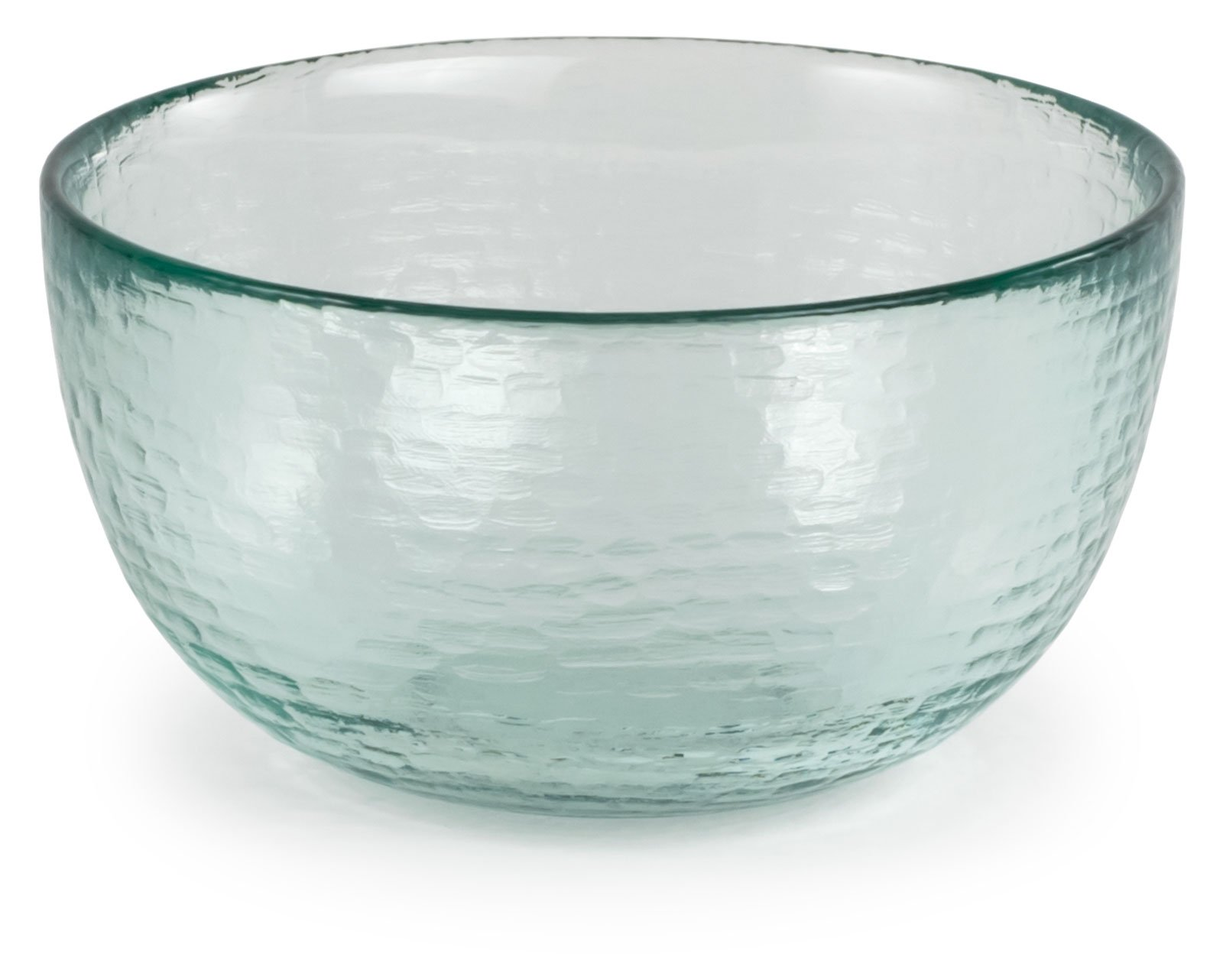 Spanish 100% Recycled Glass Medium Incised Salsa Bowl, Set of 2 - 5.25''Dx2.75''H