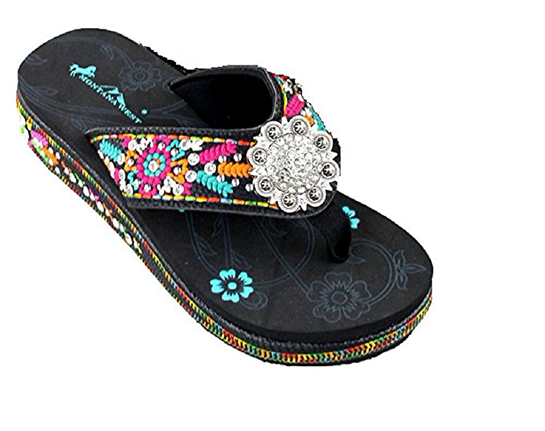822fd78e1 Montana West Rhinestone Concho Aztec Hippy Flower Flip Flops Sandals 1.75