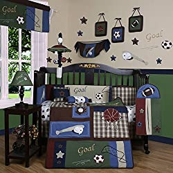 GEENY Boy's Boutique Classic Sport 13 Piece Baby Crib Bedding Set