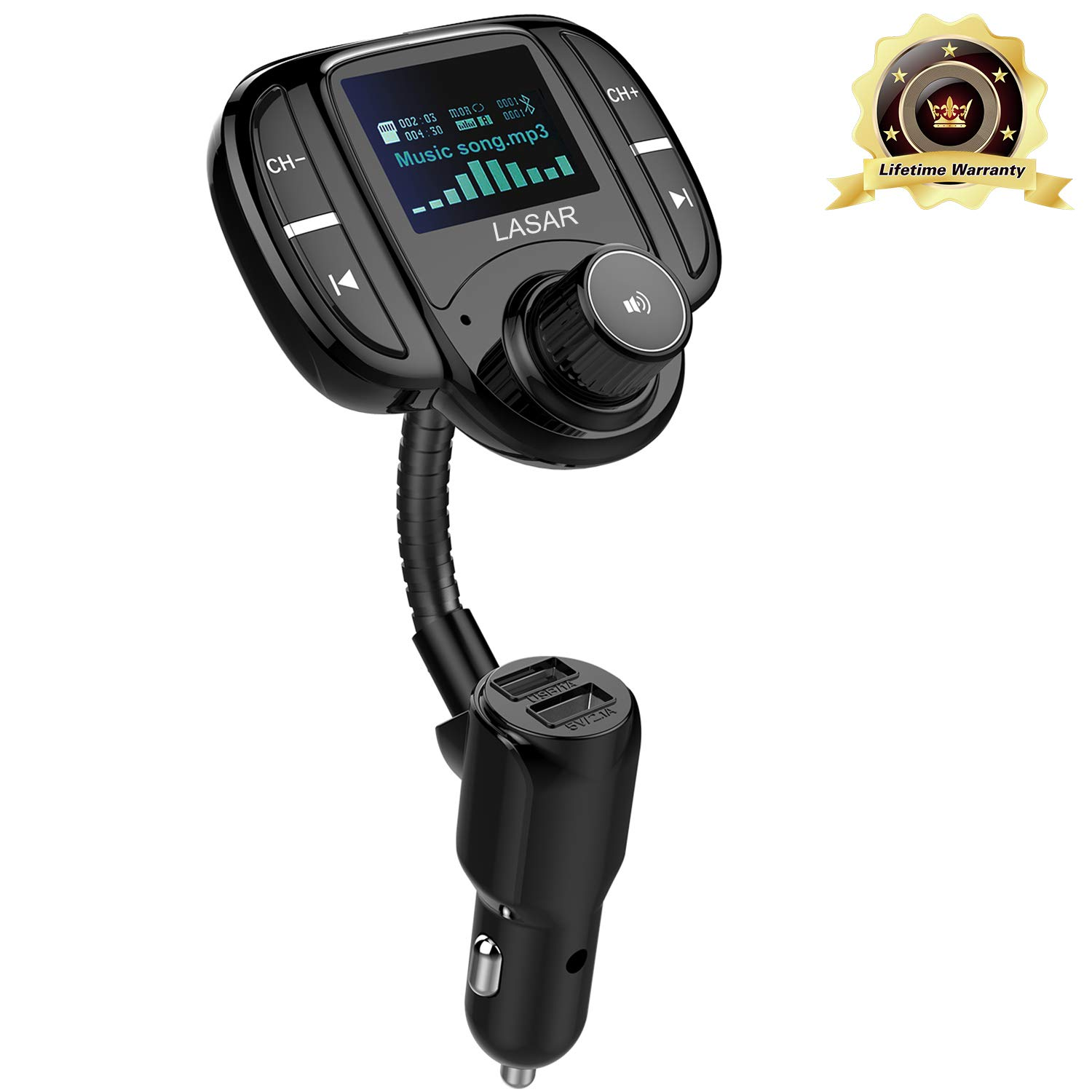 """LASAR Bluetooth FM Transmitter,Wireless Radio Adapter Hands-Free Calling Car Kit QC3.0 and Smart Dual USB Port W 1.7"""" Display, Support USB Drive,AUX Input/Output, TF Card MP3 Player"""
