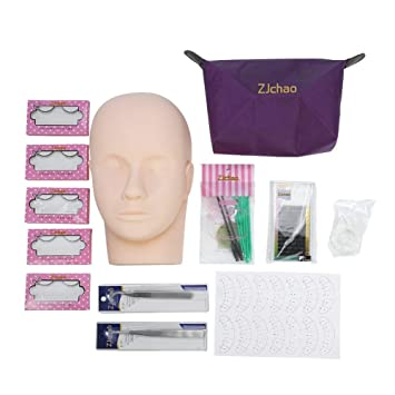 c6576de70bf False Eyelash Extension Practice Exercise Sets, Professional Head Model  Training Lip Makeup Eyelashes Grafting Tool Kits: Amazon.ca: Beauty