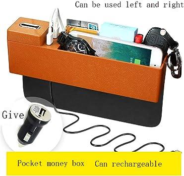 Coche Multi-Función Caja De Almacenamiento Coche Cambiar Caja Coche Interior Asiento Ranura Compartimento Almacenamiento,Orange: Amazon.es: Coche y moto
