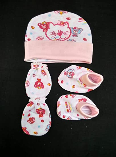 a3df4b7e3 Manan Shopee Cotton Caps Booties Mittens Combo Set/New Born Baby ...
