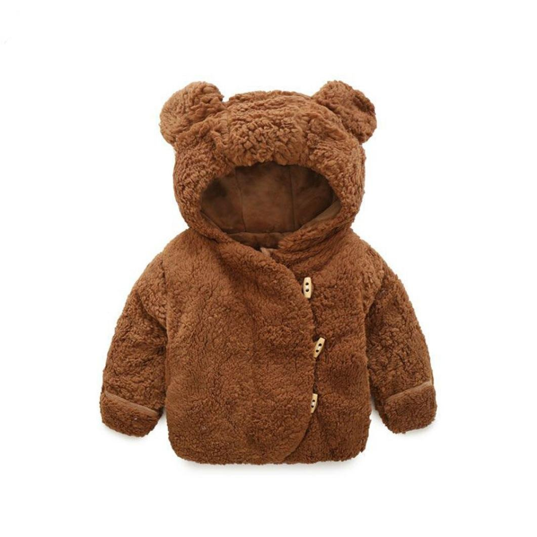 Gotd Baby Infant Girls Boys Autumn Winter Hooded Coat Cloak Jacket Thick Warm Clothes (0-6 Months, Coffee) Goodtrade8
