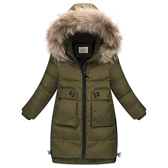 Amazon.com: LSERVER Big Girls Winter Parka Down Coat Puffer Jacket Padded Overcoat Fur Hood: Clothing