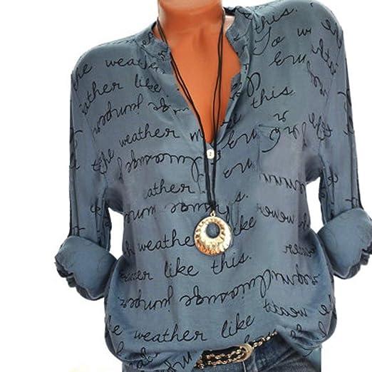 224fc1dea38c Women Plus Size Tops Loose Letter Autumn Long Sleeve V Neck Button Down  Henley Shirts (