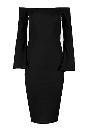 Womens Ladies Off Shoulder Bardot Long Bell Sleeve Back Split Bodycon Midi Dress