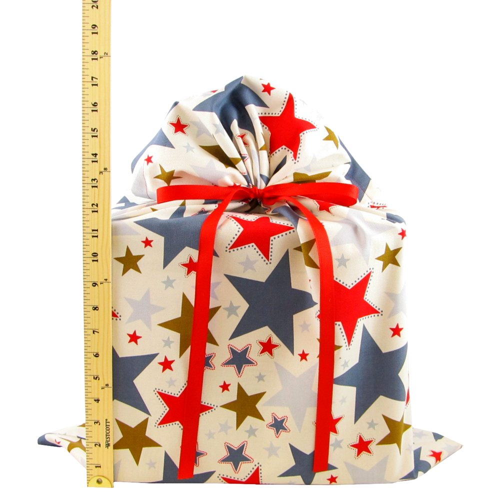 Stars II Reusable Fabric Gift Bag for Birthday, Graduation, or Any Occasion (Large 20 Inches Wide by 27 Inches High) by VZWraps (Image #3)