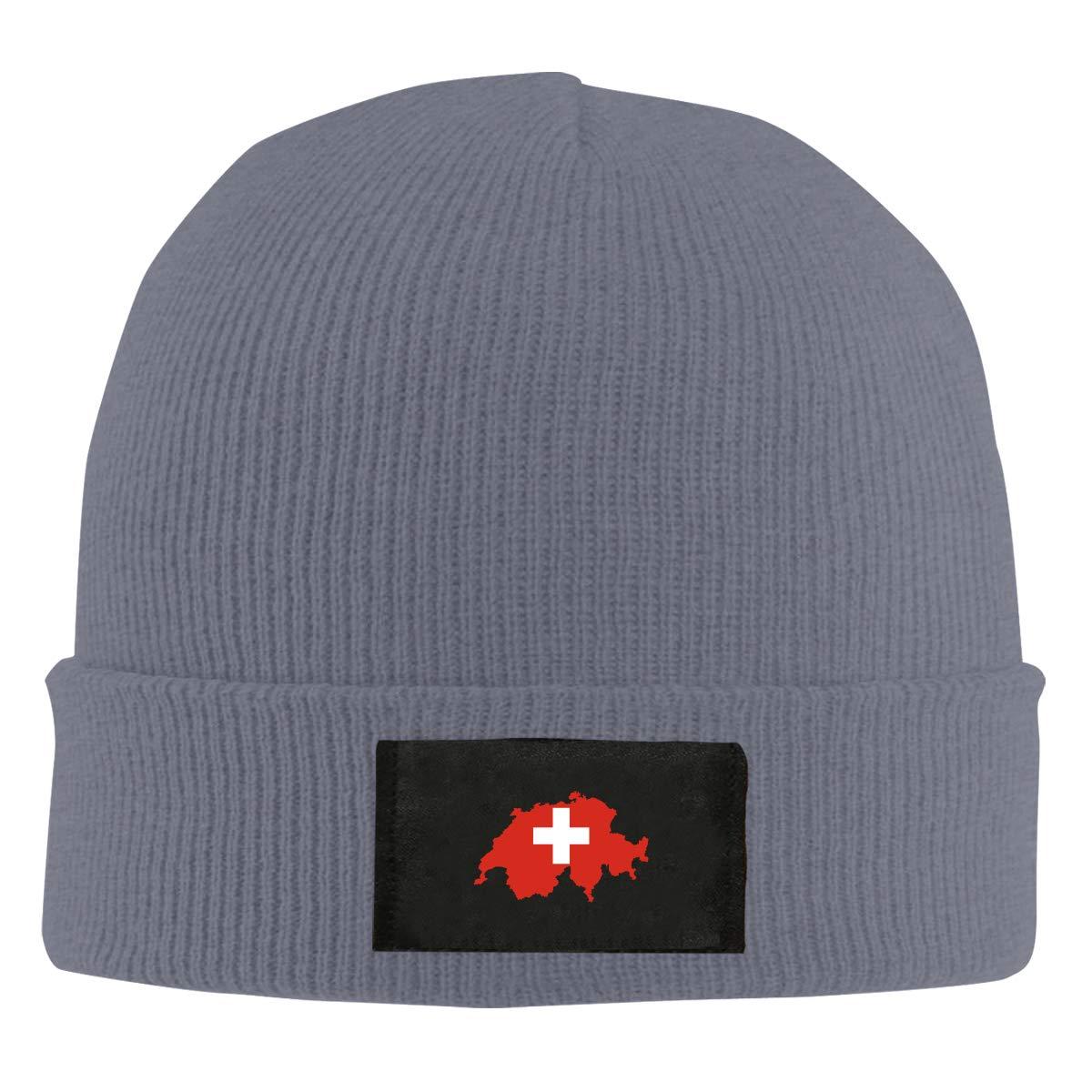 LRHUI Flag-map Winter Knitted Hat Warm Wool Skull Beanie Cap