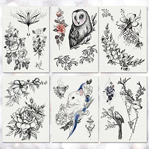 Leoars Large Black Flower Tattoos, Waterproof Leaves Flowers Peacock Pattern Temporary Tattoo Sticker, Body Art Fake Tattoo for Women Girls Kids, 6-Sheet from LEOARS