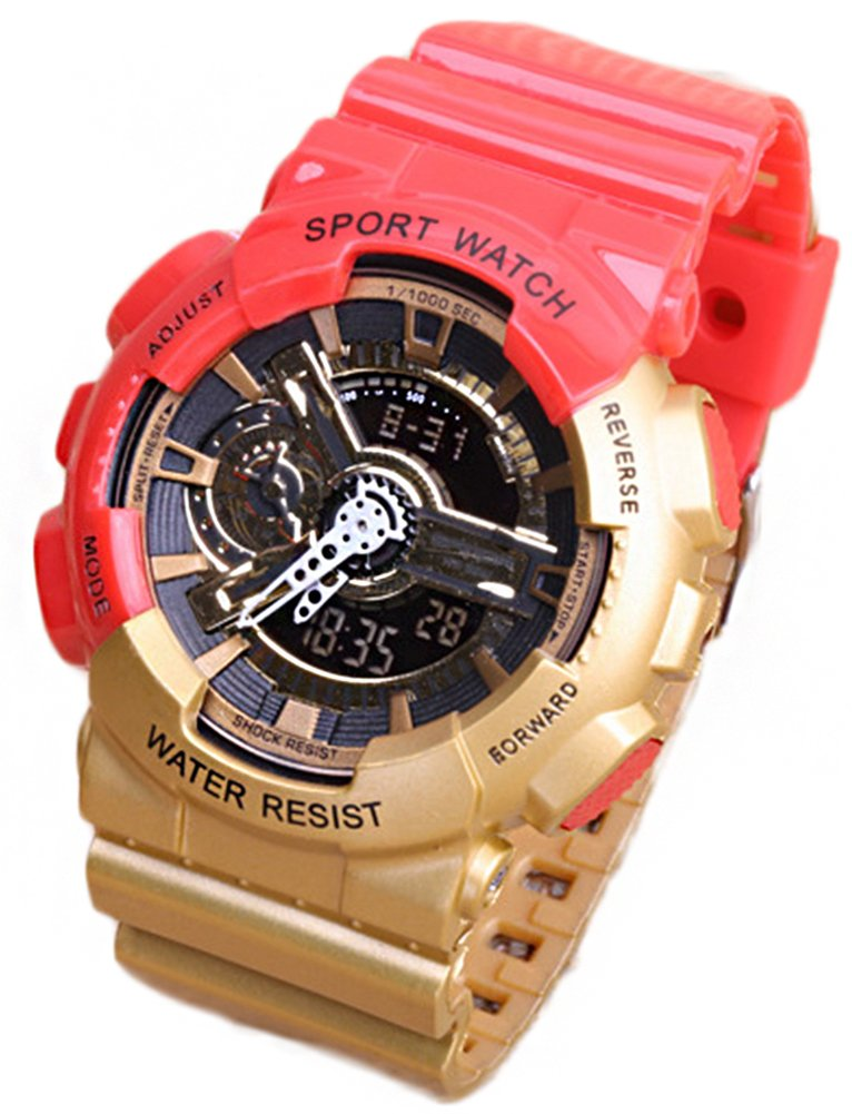 Multi-Function Fashionable Outdoor Waterproof Sport Kids Watch For Boys Girls Wrist Watches Red+Gold by YLJHCYGG
