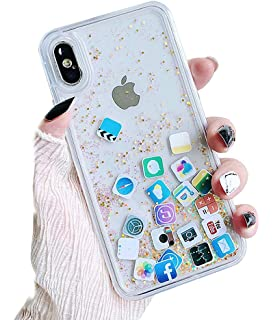 b4e81da55a UnnFiko Liquid Glitter Case Comaptible with iPhone Xs Max, Hard Back  Colorful Bling Quicksand with