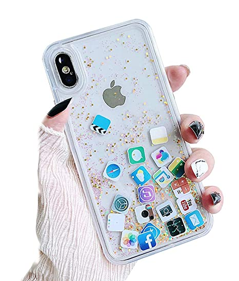 UnnFiko Liquid Glitter Case Compatible with iPhone XR, Hard Back Colorful Bling Quicksand with iOS icon Apple APP Shine Phone Case (Gold Glitter, ...