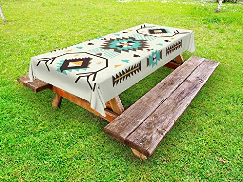Ambesonne Southwestern Outdoor Tablecloth, Ethnic Pattern Design from Ancient Aztec Culture with Indigenous Zigzag Motifs, Decorative Washable Picnic Table Cloth, 58 X 104 Inches, Multicolor