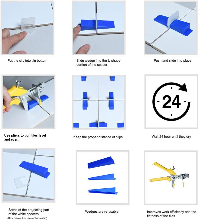   Tile Leveling Spacers 1//16 to Ensure Tiles are Laid Flat /& Even 250 Pack Self Leveling Tile Spacers   Self Leveling Tile Spacer System 1//16 Inch SOLAS Tile Self Leveling System 1.5mm only