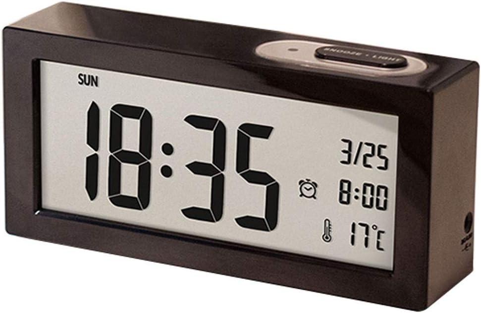 Color : Black R/éveils /électroniques /Étudiant R/éveil Montre Grand Num/érique Moniteur LCD Snooze /Électronique Enfants Horloge Capteur Lumi/ère Night Light Bureau Horloge R/éveils