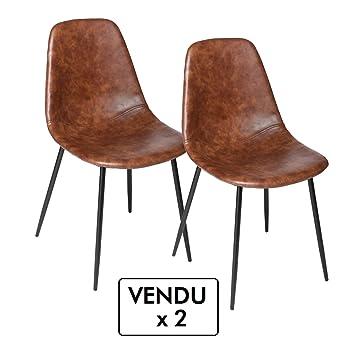 Atmosphera Lot de 2 chaises Vintage - Style Industriel - Coloris Marron  Vieilli 05e21e0d86a4