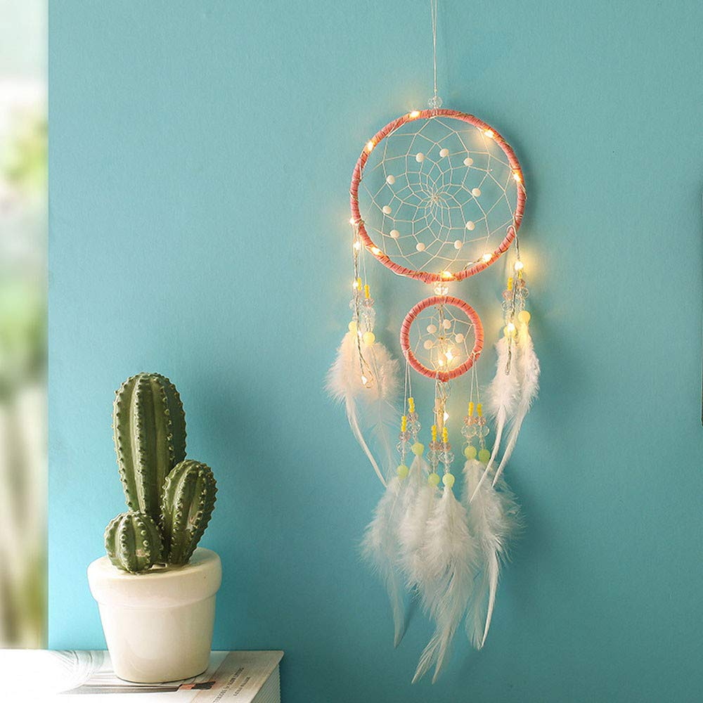 Glumes Feather Hanging Decor, Manual LED Dream Catcher, 20 LED Lights up, Native Indian Luminous Dreamcatchers Wall Hanging Ornaments for Bedroom, Festival Gifts, Photo Props (Multicolor)