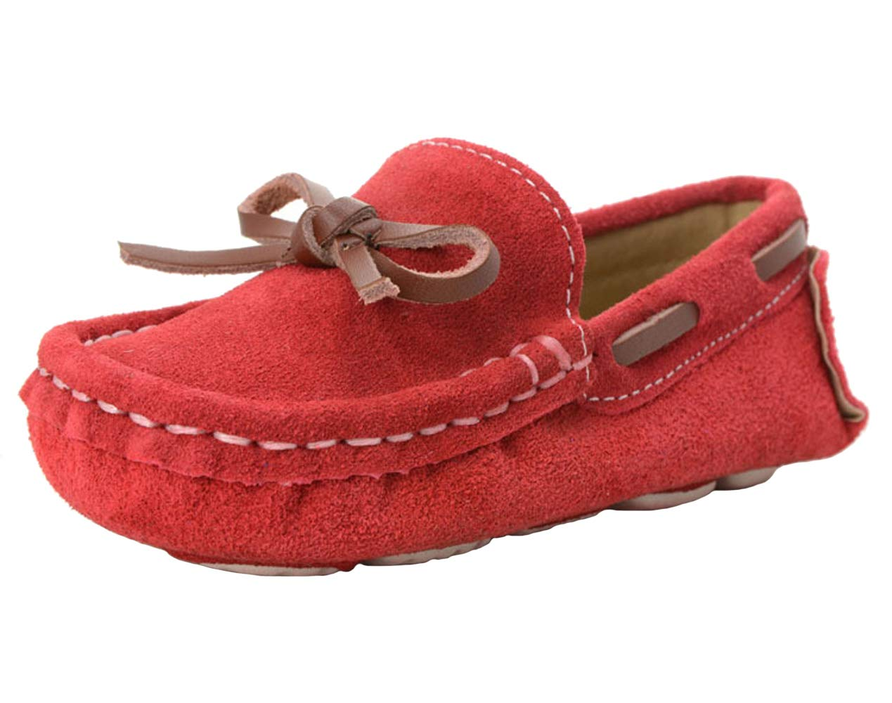 WUIWUIYU Boys' Girls' Suede Slip-On Loafers Flats School Casual Shoes Red Size 7 M