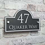 House Number Sign or Address Plaque Door Name Plate Anthracite Grey Personailsed Glass Effect
