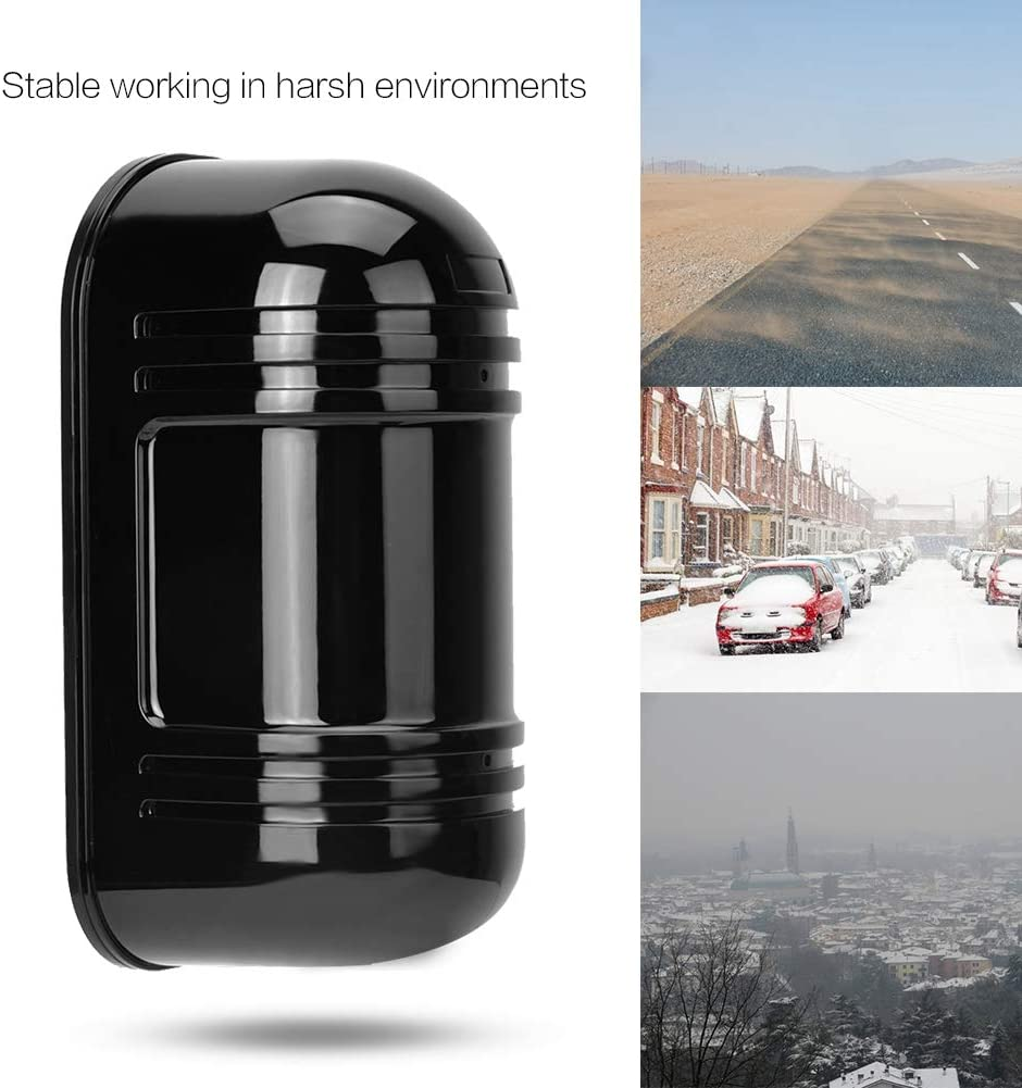 Sensor de Doble Haz de Infrarrojos Detector de Barrera fotoel/éctrico Impermeable Detecci/ón Activa Sistema de Seguridad de Pulso Digital