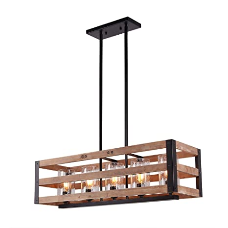 eumyviv c0028 5 lights rectangle three tiers wood metal pendant lamp