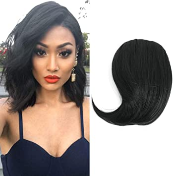 Reysaina Clip In Bangs Fringe Hair Extensions 1 Jet Black Side Swept Bangs Clip In Hairpiece For Women